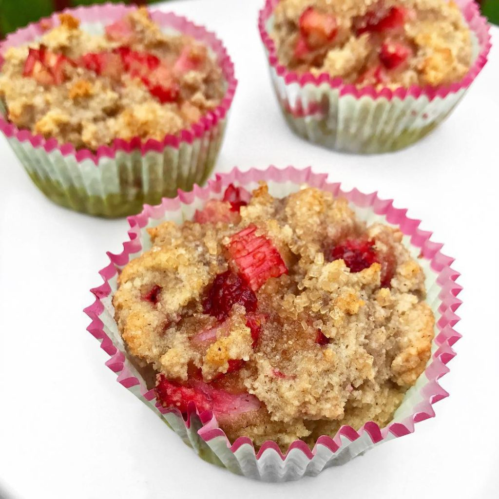 paleo muffins made with strawberries and rhubarb